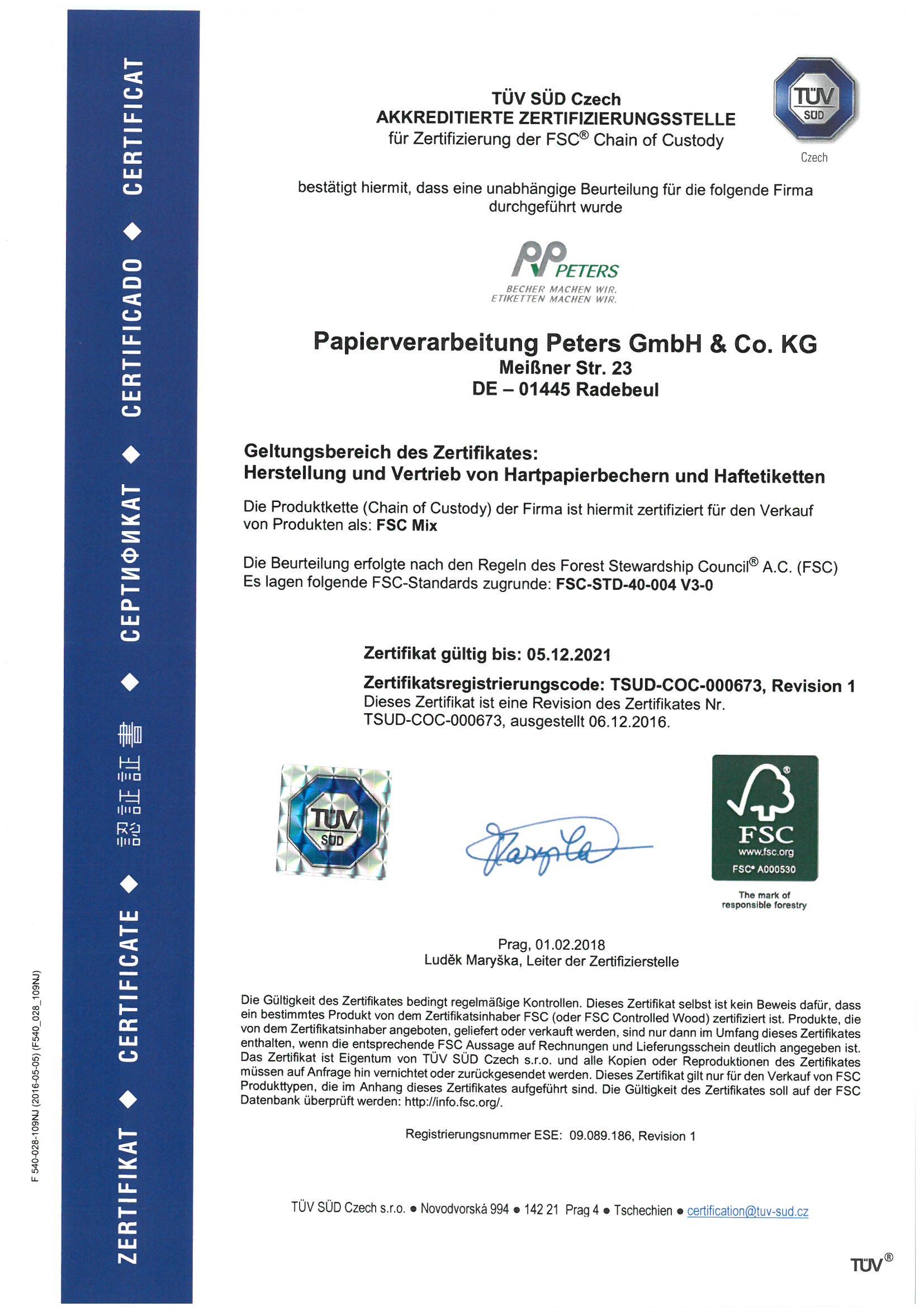 Gütesiegel Forest Stuwardship Council Certificate
